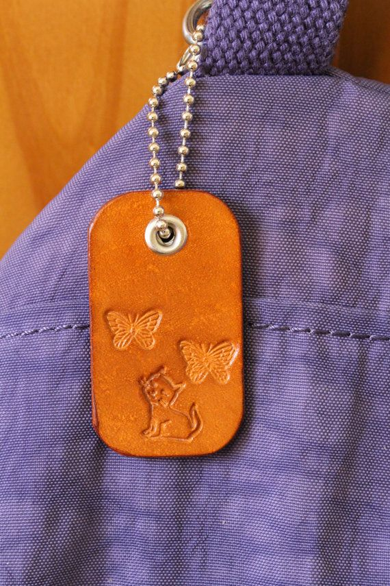 Handmade Bag Charm, Leather Bag Charm, Cat Bag Charm, Butterflies Bag Charm. Repin To Remember.