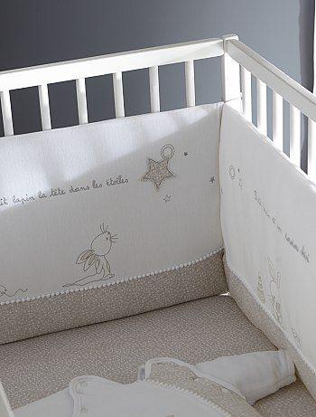 Tour de lit velours brodé                                                                                                                                             blanc Bébé fille