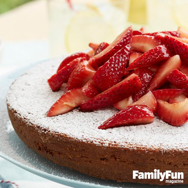 Almond Cake With Strawberries: A fruit-topped dessert makes a gorgeous centerpiece for a Memorial Day or Fourth of July gathering.