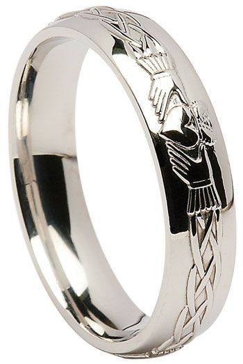 Sterling Silver Claddagh Celtic Wedding Band at Claddaghrings.com #claddaghrings #silverrings