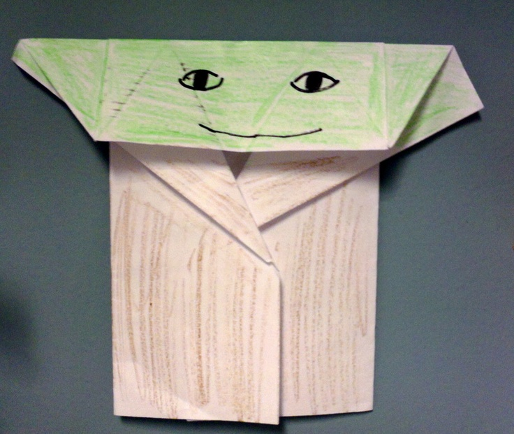 Origami Yoda. Ages 5+. No need for origami paper, just regular sheets will do. Easy to fold and found at http://origamiyoda.wordpress.com/