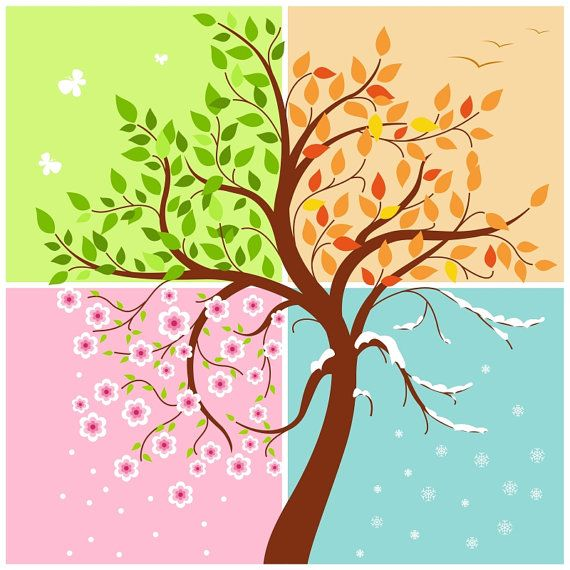 "Cute ""Four Seasons of the year"" illustration, digital card, printable, vector, instant download, vector art, digital images – IL001"