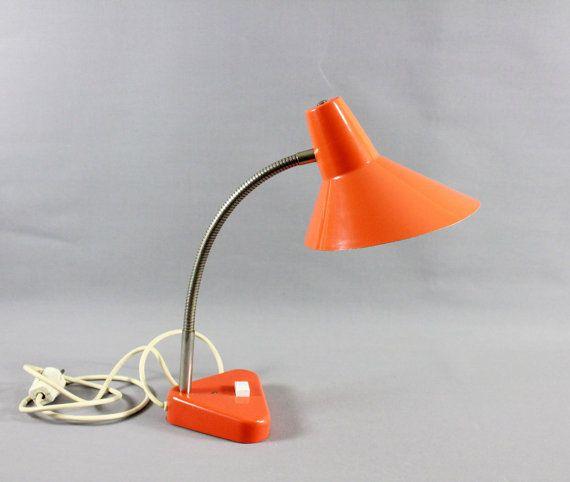 Vintage Mid Century Gooseneck Desk Lamp Tangerine by Vinteology