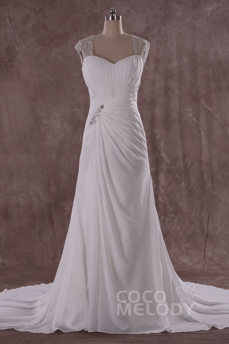 Chic+Sheath-Column+Straps+Natural+Train+Chiffon+Sleeveless+Wedding+Dress+with+Draped+LWKT14001
