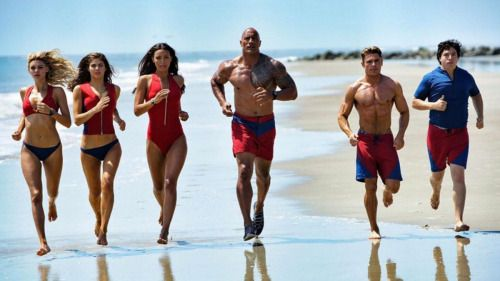 Baywatch film cast go for a slow-motion beach jog in new set...