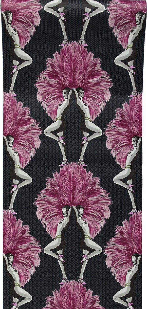 """Melissa Scott - 'Showgirls Wallpaper Pink' """"A fabulous wallpaper design evoking a graphic, contemporary take on a classic Burlesque theme, while maintaining an"""