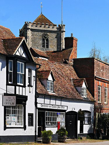 Dorchester-on-Thames, Oxfordshire, England, you can just see Dorchester Abbey which was founded in 1140
