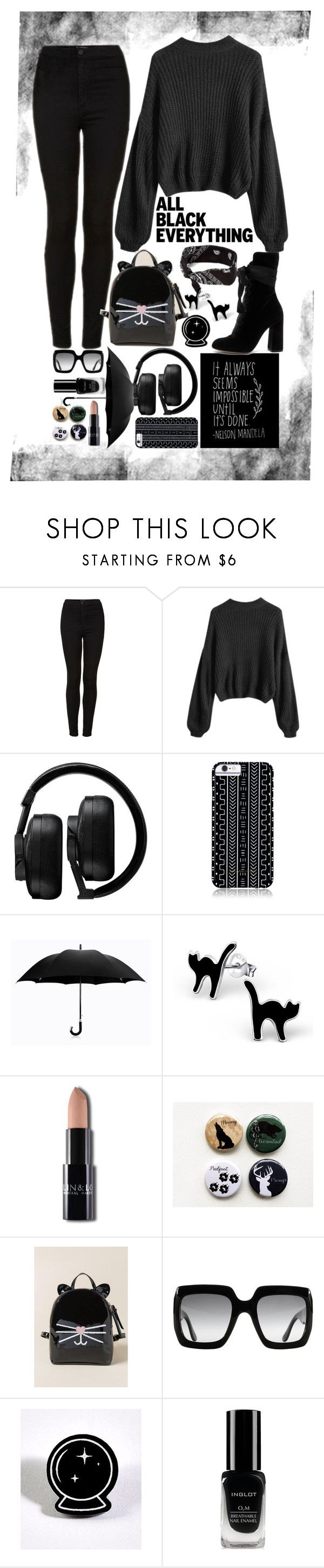 """All black♥"" by majami05 ❤ liked on Polyvore featuring Topshop, claire's, Master & Dynamic, Savannah Hayes, Davek, Francesca's, Gucci, Inglot and Chloé"