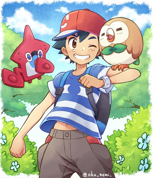 ¡¡Ash,Rowlet and his new pokemon pokedex!!