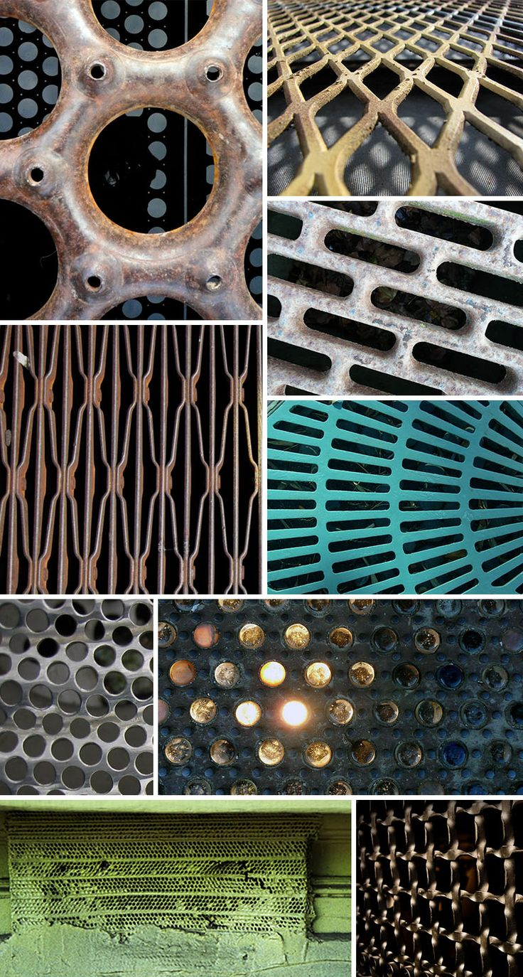 "From pattern observer images via: ""Grate"" by Ingrid Taylar, ""Always"" by Todd, ""Unknown"" by Dennis Hill, ""Downtown Grate"" by Tech109, ""Grate with Light"" by Andrea Church, ""Just Grate"" by Ryan Hyde, ""Grate"" by Dassaso, ""Grate"" by Ted Percival, ""Grate"" by Rob Nguyen"
