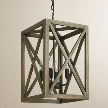 Gray Wood and Iron Valencia Chandelier | World Market
