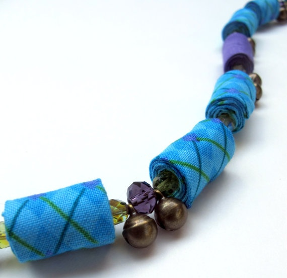 Vibrant Turquoise and Violet fiber necklace with tiny by Gilgulim, $49.00