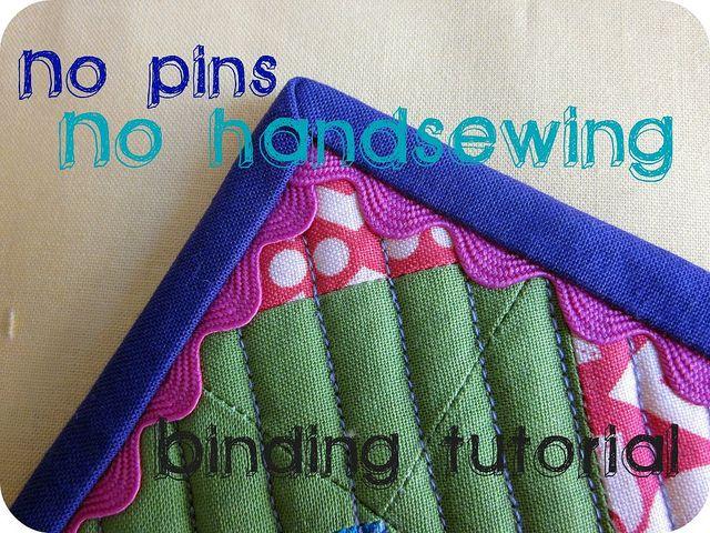No pins, no handsewing, binding tutorial by emedoodle, via Flickr