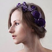 Handmade dark violet roses coronet by Zojka Botanica. Click through for the shop