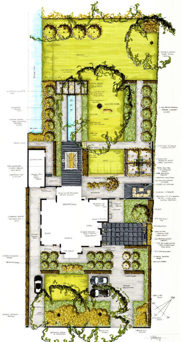 Private garden design for a project in the Netherlands. Hand rendering design. #Gardenarchitect #Gardendesign #Handsketched drawing. #MartinVeltkampTuinen