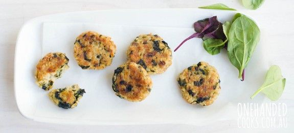Gluten-Free Cheesy Tuna, Spinach and Mushroom Rice Patties - One Handed Cooks