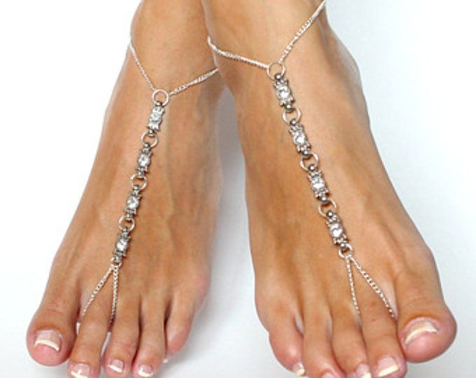 Aqua / turchese incatenato sandali a piedi nudi minimalista