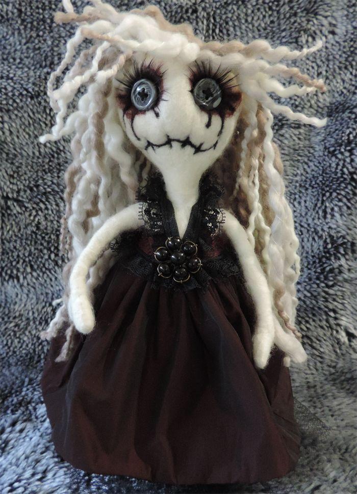 Freedom, gothic wool felted cloth poseable handmade OOAK rag doll. Halloween pun
