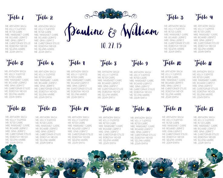 Tabelle Sitzordnung PRINTABLE - 80-180 Gäste, angepasste Hochzeit Tisch Sitzmöbel Diagramm Hochzeit, Hochzeit Garten Hochzeit rustikal, Marineblau von Dantell auf Etsy https://www.etsy.com/de/listing/202440185/tabelle-sitzordnung-printable-80-180