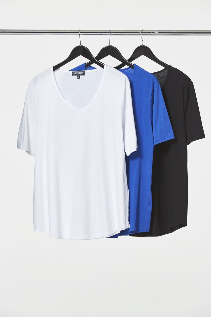 Vee Neck Curved Hem Tee in White, Cobalt & Blue