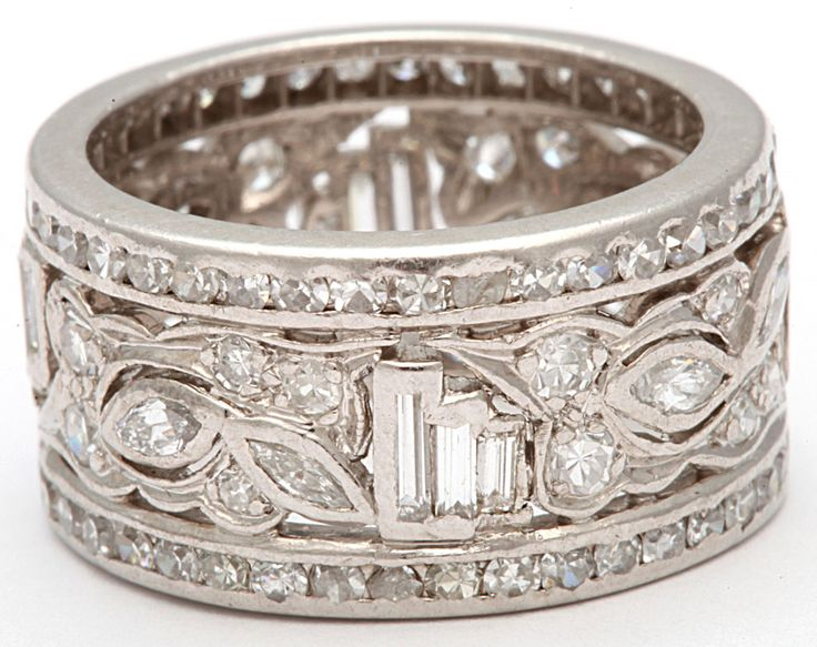 1950's Wide Diamond Platinum Band image 7