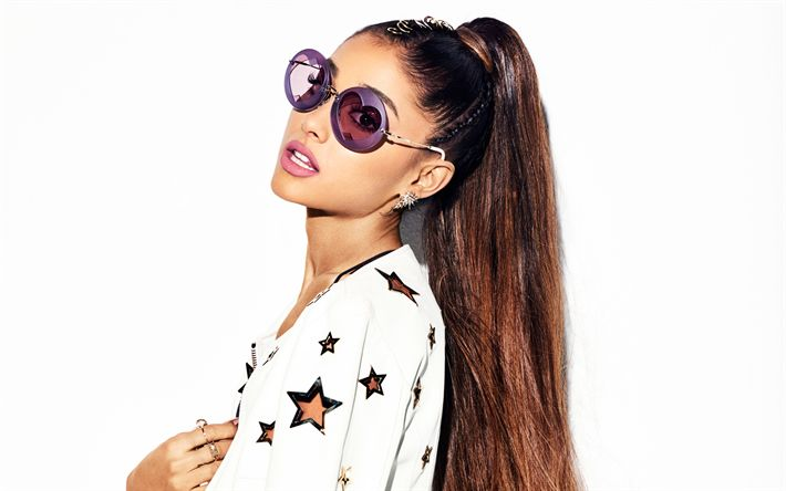 Download wallpapers Ariana Grande, 4K, American singer, portrait, white jacket, beautiful woman, American actress