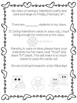 VALENTINE'S DAY PARTY AND CARD EXCHANGE LETTER TO PARENTS *FREE* -
