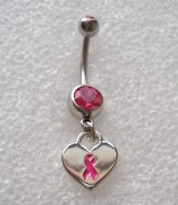 PINK RIBBON HEART BREAST CANCER AWARENESS Navel Belly Button Ring Body Piercing