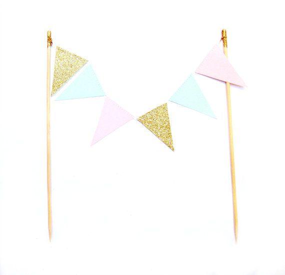 Mint grün, blass rosa & Gold Glitter Flagge Cake Topper - Kuchen Bunting - Hochzeit, Verlobung, Geburtstag, Baby-Dusche, Tea-party