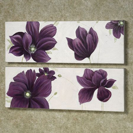 Floral Whispers Purple Canvas Art Set of Two