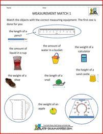 Measurement Worksheet Match 1