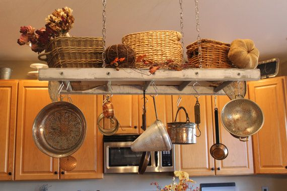Rustic Ladder Pot Rack Repurposed Ladder by EdnaFayeCreations, $98.00