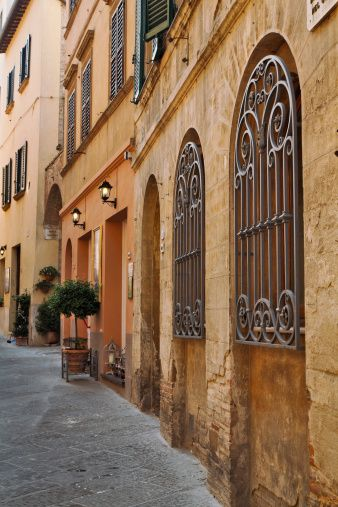Wrought Iron and typical street, Montepulciano, Tuscany, Italy