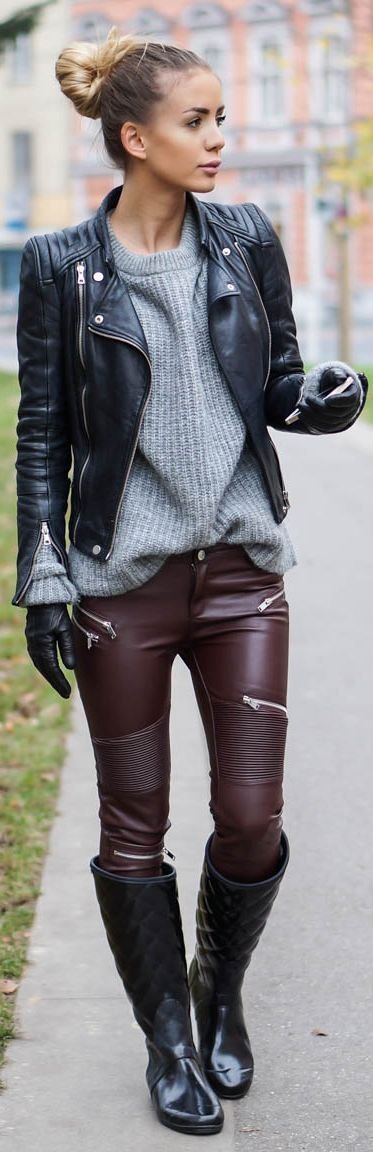 Tatjana Catic Burgundy Leather Moto Pants Fall Inspo