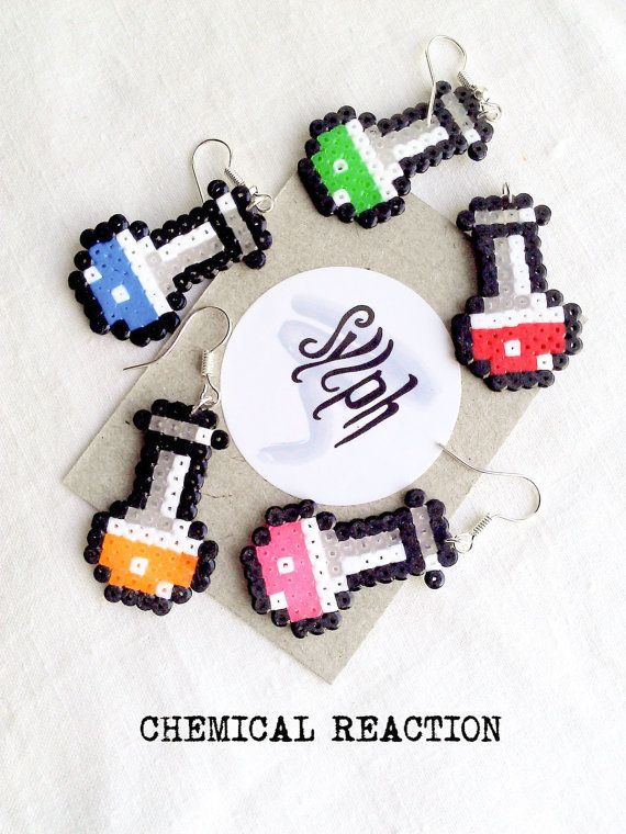 Earrings made of Hama Mini Beads - Chemical Reaction (various colors) by SylphDesigns on Etsy