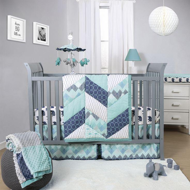 The Peanut Shell Mosaic 3 Piece Crib Bedding Set