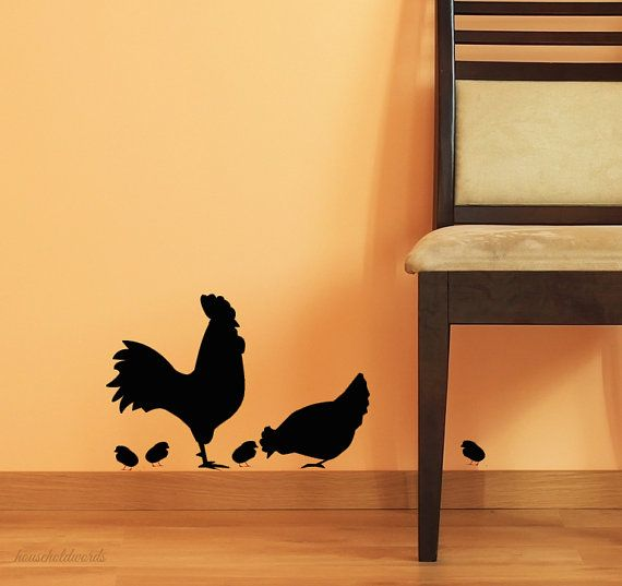 Kitchen Wall Decor Rooster Decal and Chicken by HouseHoldWords