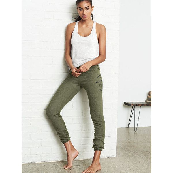 Victoria's Secret Gym Pant ($45) ❤ liked on Polyvore featuring pants, brown, lightweight pants, draw string pants, drawstring pants, stretch waist pants and elastic cuff pants