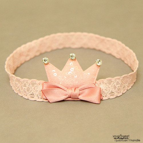 Pink crown baby headband infant headband baby by APPLEMINTHOUSE
