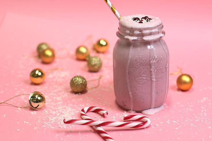 Delicious Candy Cane Milkshake is easy to make and a great choice for the holidays! Stir in cranberry-lingonberry-Berrie, vanilla ice cream and curd. Decorate with berries or chocolate chips.