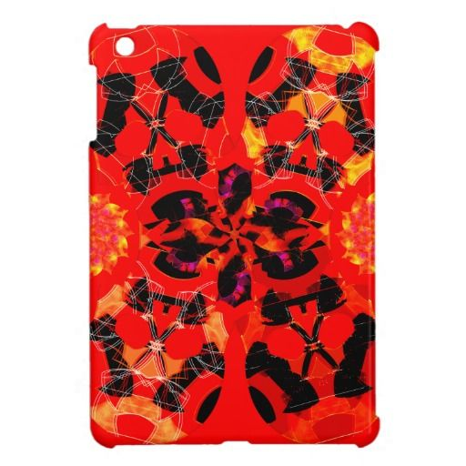 Skulls and Flowers | iPad Mini Case style R | Bright Red | design by groovygap.com | Halloween gifts | #birghtRed #balckAccentspin