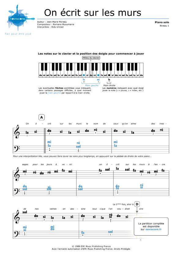 Partition Piano Gratuite On Ecrit Sur Les Murs Kids United Partitions Noviscore Partition Piano Gratuite Chansons Piano Partition Piano
