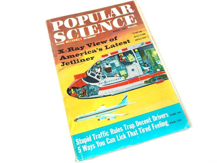 Popular Science Magazine April 1959 Jetliner Douglas DC 8 Foldout Panel Jet Plane COVER Art Back Issue Men's Magazine Old Technology Project by CollectionSelection on Etsy