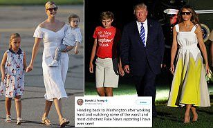After a tumultuous 17-day vacation at his golf club in New Jersey, Donald Trump is heading back to the White House.The First Family looked glum as they walked across the tarmac to board Air Force One.