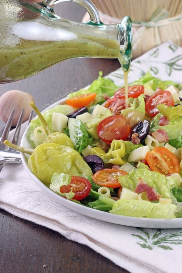 Lighten up your dinner for the warm weather with this tasty Italian Chopped Salad. Mix it up with what you have on hand.