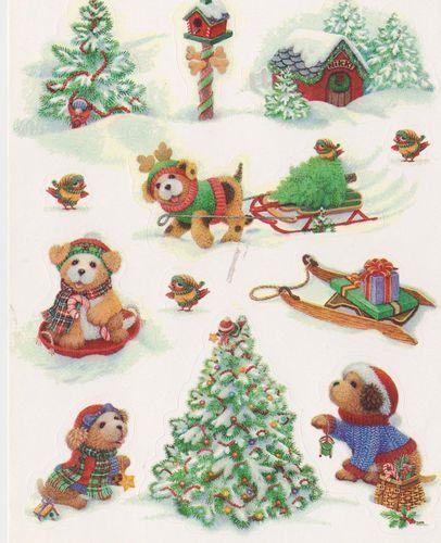 vintage christmas critters sticker sheet by hallmark. Black Bedroom Furniture Sets. Home Design Ideas