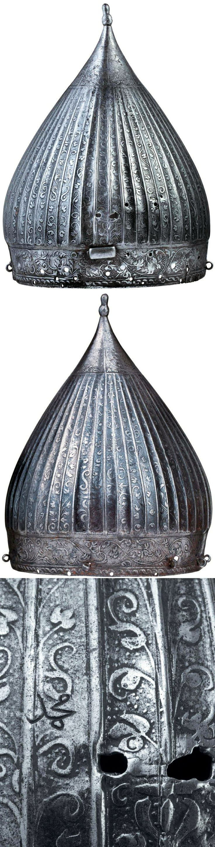 """European (Nuremberg) produced Zischägge helmet, forged in one piece, made in the Indo-Persian style, bearing the Ottoman inscription """"Mohammed"""", the helmet was captured by the Ottomans during the Austro-Turkish war (1591-1606), circa 1560-80. This helmet is evidence of the European interest for the Ottoman style which emerged in Europe during the last quarter of the 16th century while at war against the Ottoman Empire, helmets produced in Nuremberg were intended for export to Poland and…"""