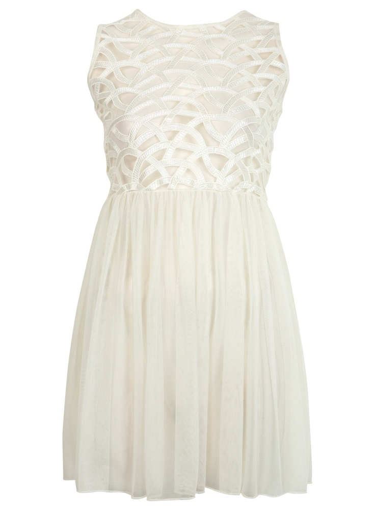 I live this white lace detailed dress! It's so fun and flirty and summer like! But of you wear white shoes, it'll be tooo low key. Pair some pink wedges, pink and coral bangles, and maybe a coral butterfly necklace. Then throw in a mint green clutch. Beachy curls, light skimmers makeup with hit link lips and your ready to go! :)