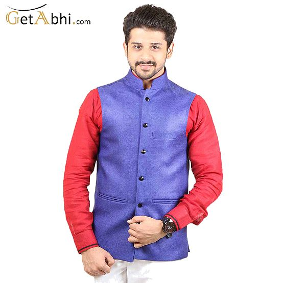 Royal Blue color #Modi #Jacket is manufactured on Jute fabric. Present first class style with this season's most striking men's wear collection