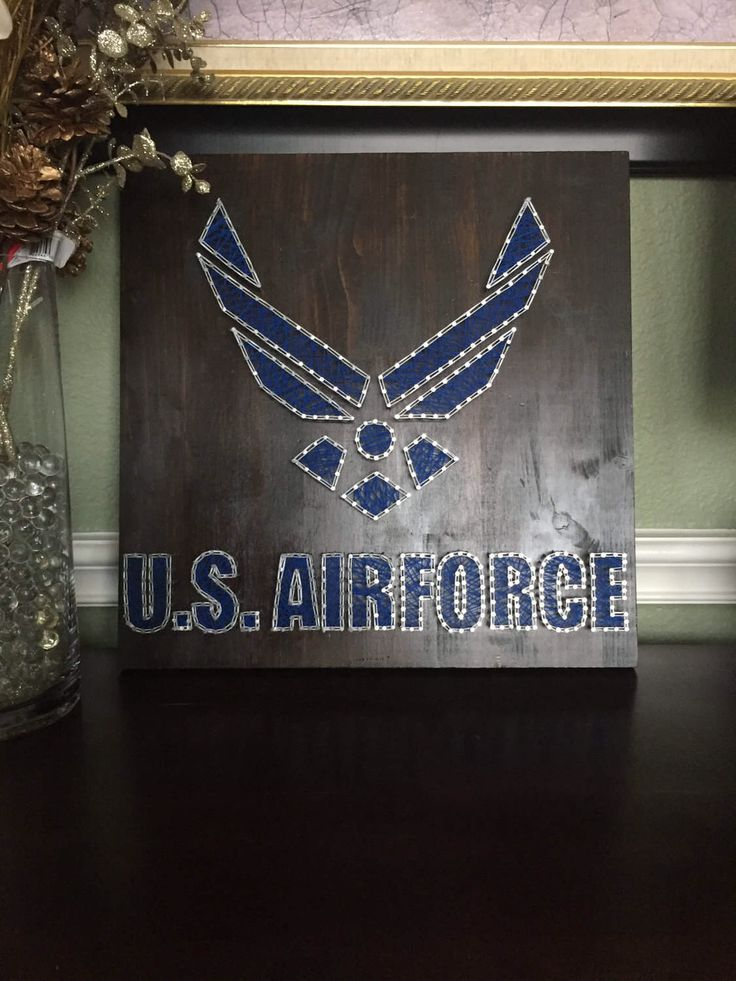 A personal favorite from my Etsy shop https://www.etsy.com/listing/504528012/us-air-force-string-art